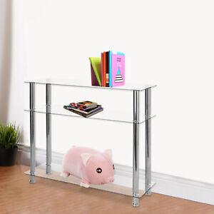 3 Tier Modern Hall Table Hallway Glass Console Table Clear Glass Chrome Legs UK