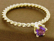 R253/Bd93 Genuine 9K Solid Gold NATURAL Amethyst Rope Ring Stackable Solitaire
