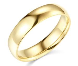 Solid Real 14K Yellow Gold Wedding Anniversary Band Ring Regular Fit Mens Womens