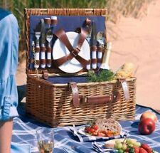 BEAUTIFUL Retro 4 Person Navy Wicker Hamper Picnic Basket Set Waterproof Blanket