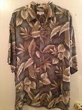 PIERRE CARDIN Men Button Down Short Sleeve Shirt Sz XXL Hawaiian Print Olive