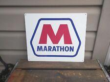 "Marathon Metal Sign Gas Station Oil Pump Garage Mechanic Shop Retro 10x12"" 50139"