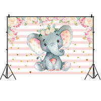 Elephant Backdrop Baby Shower Girls Birthday Party Pink Photo Background Banner