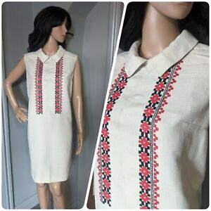 Vintage 60s Embroidered Linen Tunic Peter Pan Shift Sheath Dress Mod 12 14 40