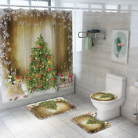 2020 Bathroom Shower Curtain Merry Christmas Non Slip Rug Toilet Cover Mat Set