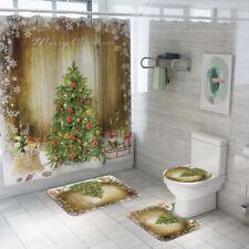 2020 Bathroom Shower Curtain Merry Christmas Non Slip Rug Toilet Cover Mat Set
