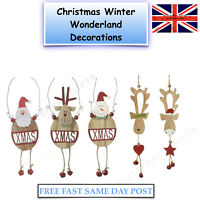 Wooden Hanging Christmas Tree Decorations Santa Snowman Reindeer Xmas Decoration