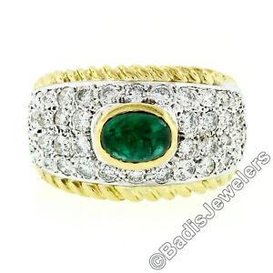 Estate 18k Gold 2.85ctw Fine Cabochon Green Emerald & Diamond Cocktail Band Ring