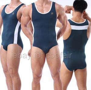 Men's Leotard Fitness GYM Bodysuit Stretch Swimsuit Wrestling Sports Underwear