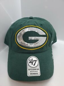 Green Bay Packers '47 Clean Up Green with Sequins Women's Strapback Hat Cap