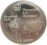 1973 Canada RCM 10 Dollar Silver 1976 Montreal Olympic Games Silver Coin KM#86.1