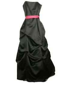 David's Bridal Black Satin Dress Draped Bridemaid Prom With Pink BeltGown Size 8