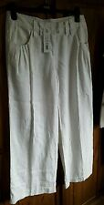 CERCHIO COMPLETO LINO BIANCO Pantaloni Taglia 10 (28 R) NUOVO CON ETICHETTA