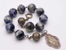 Superbe barcelet dizainier en argent massif et pierres bleues XIXeme