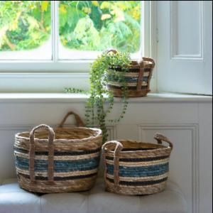 Straw Storage Basket Corn Blue Stripe With Handles 3 Sizes