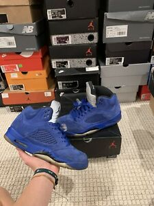 Nike Air Jordan 5 Retro Blue Suede Black Silver V Metallic 136027- 401 Size 9.5