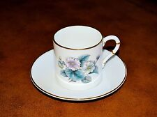 Royal Worcester Demitasse Cup & Saucer Floral w/Gold Rim Never Used Perfect Cond