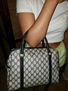 Gucci Vintage  GG Guccissima Signature  Duffle Handbag Purse Blue