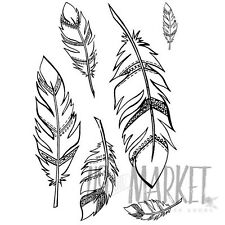 49 and Market Clear Acrylic Stamps Feathers Stamp Set 6 pieces Ss-85526