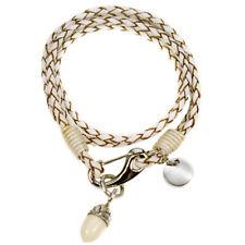 KeeeArt Summer Symphonie Cream Leather Braided Wrap Bracelet with Acorn Charm