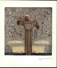 White Robed Traveler Attracting Beautiful Birds 1937 old fantasy color print