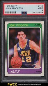 1988 Fleer Basketball John Stockton ROOKIE RC #115 PSA 9 MINT