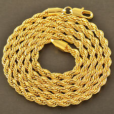 Handsome 9K Yellow Gold Filled Men's Rope Chain Necklace 24 Inches,4Mm,Z3572