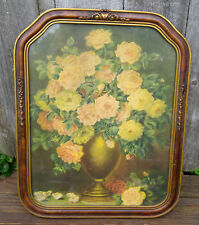 Vintage Art Deco Brown & Gold Arch Top Picture Frame w/ Flower Still Life Print