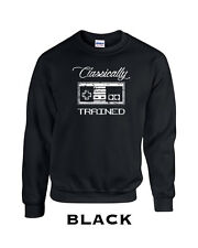 198 Classically trained Crew Sweatshirt video game geek nerd college controller