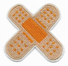 Plaster Bandaid crossed embroidered iron or sew on patch
