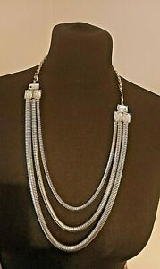 STATEMENT NACKLACE chunky silver tone triple strand with baguette rhinestones
