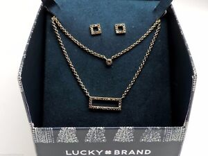 Lucky Brand Necklace & Earrings Set Studs Goldtone Pave Crystal New!