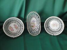 Sammlerstück Porzellankorb 3 teilig mit hübschem Blumendekor