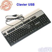Clavier HP USB AZERTY français noir et argent pour PC de bureau PROPRES & TESTES