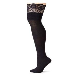(23779) K. Bell Mock Rib Lace Top Over the Knee Socks Black Shoe 4-10 1 Pr