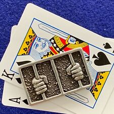 """Poker Card Guard/Protector """"Rattle The Cage#2"""" Handmade Sterling Silver, Chrome"""