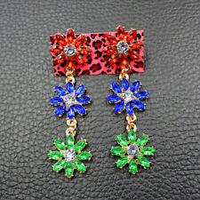 Multi-Color Flower Drop Earrings Jewelry Betsey Johnson Alloy Crystal Rhinestone