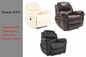 Electric Reclining Relax Chair Sofa Couch Lounger Real Leather 1 Seater Single