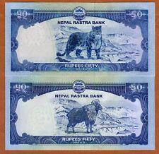 SET Nepal, 50 + 50 Rupees, 2012-2015 (2016) P-72-New, UNC > Goat, Snow Leopard
