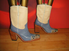 SUPERB SENDRA BEIGE BLUE LEATHER SNAKESKIN COWBOY BOOTS UK3.5 /  4 *2*