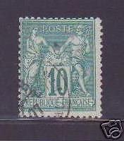 "FRANCE 1876-78 Y&T 76 ""TYPE SAGE 10c VERT"" ,OBLITERE TB"