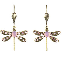 NEW ANNE KOPLIK PINK SWAROVSKI CRYSTAL DRAGONFLY EARRINGS ~~MADE IN USA~~