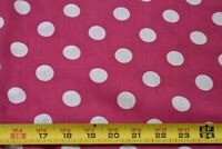 By 1/2 Yd, White Polka-Dots on Pink Cotton Dress-Weight Fabric, N5631