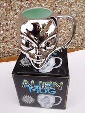 VINTAGE  ALIEN HEAD MUG - METALLIC SILVER FINISH Boxed  *  NEW