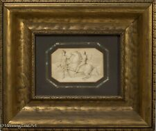 Old Master Drawing of Two Men and Horse, Pencil & Watercolor, Framed & NICE!