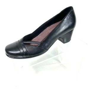Clarks Everyday Womens Pumps Low Heel Black Leather Career Size 6 M