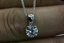 """1CT ROUND SOLITAIRE PENDANT NECKLACE 18"""" CHAIN  SOLID 14K WHITE GOLD"""