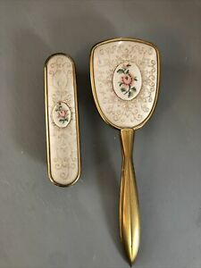 Vintage Regent of London Style Embroidered Dressing Table Hair & Clothes Brush