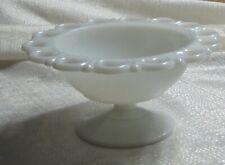 VINTAGE WHITE GLASS PEDESTAL CANDY BOWL