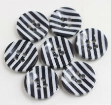 50Pc 4 Holes 12mm Round Stripe Pattern Clothes Resin Buttons Sewing Scrapbooking